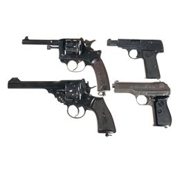 Four European Hand Guns -A) French Model 1892 Double Action Revolver