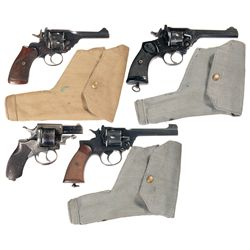 Four British Double Action Revolvers -A) Webley Mark IV Double Action Revolver with Holster