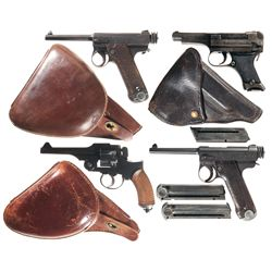 Four Japanese Handguns -A) Japanese Type 14 Semi-Automatic Pistol with Holster