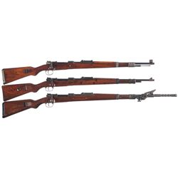 Three Mauser Model 98K Bolt Action Rifles -A) Post-War French Rework 98K Bolt Action Rifle