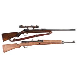 Two German Rifles -A) Walther Sport Model V Single Shot Bolt Action Rifle with Scope