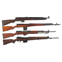 Four Semi-Automatic Rifles -A) Cz Model 52/57 Semi-Automatic Rifle with Bayonet