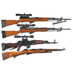 Four Rifles -A) Yugoslavian Model 59/66 SKS Semi-Automatic Rifle with Bayonet, Bipod, and Scope