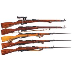 Five Bolt Action Military Longarms -A) Mosin Nagant Model 91/30 Bolt Action Sniper Rifle with Scope
