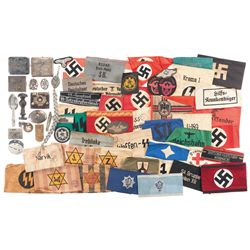 Large Group of Arm Bands and Other Nazi Items