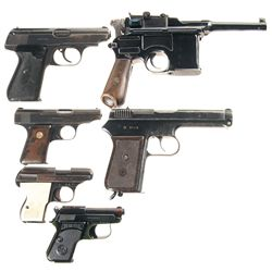 Six Semi-Automatic Pistols -A) Mauser Model 1898 Broomhandle Semi-Automatic Pistol