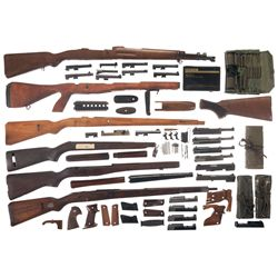 Eleven German Semi-Automatic Pistol Frames and an Assortment of Firearm Parts and Accessories -A) Ma