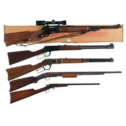 Five Rifles -A) Boxed Marlin Model 1895SS Lever Action Rifle with Scope, Sling and Five Framed Wall