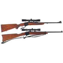 Two Scoped Ruger Single Shot Long Guns -A) Ruger No.1 Rifle