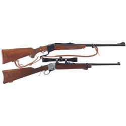 Two Falling Bloc Single Shot Rifles -A) Ruger No. 1 Falling Block Rifle with Sling