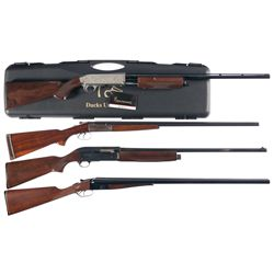 Four Shotguns -A) 28 Gauge Browning BPS Ducks Unlimited Slide Action Shotgun with Case