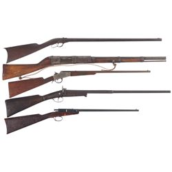 Five Long Guns -A) Whitney-Howard Lever Action Single Shot Rifle