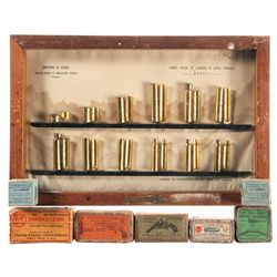 Framed Cartridge Display and Vintage Boxed Ammunition
