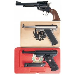 Three Ruger Handguns -A) Ruger New Model Blackhawk Single Action Revolver