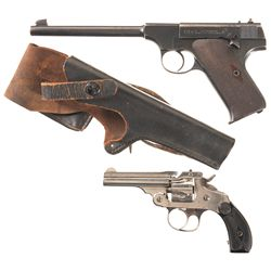 Two Handguns -A) Colt Pre-Woodsman Semi-Automatic Target Pistol with Holster
