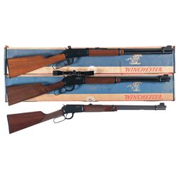 Three Winchester Lever Action Long Guns -A) Winchester Model 94 lever Action Carbine with Box