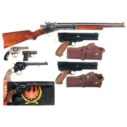 One Air Rifle, Two Paintball Pistols, Three Revolvers and One Semi-Automatic Pistol -A) Crosman Air