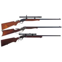 Three Single Shot Rifles -A) Stevens Ideal Rifle with Scope