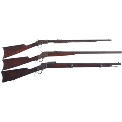Three Winchester Long Guns -A) Winchester Model 1890 Slide Action Rifle