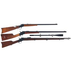 Three Single Shot Rifles -A) Winchester Model 1885 Low Wall Single Shot Rifle
