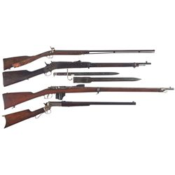 Four Long Guns -A) Belgian Graxado Bamasco Damascus Barrel 410 Percussion Shotgun with Carved Stock