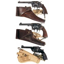 Three Double Action Revolvers wit Holsters and Lanyards-A) Colt 38 Double Action Revolver