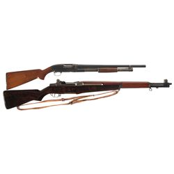 Two U.S. Property Marked Long Guns -A) U.S. Marked Winchester Model 12 Takedown Slide Action Shotgun