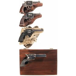 Four Revolvers -A) Smith & Wesson Victory Model Double Action Revolver with Factory Letter and Holst