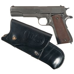 U.S. Ithaca Model 1911A1 Semi-Automatic Pistol with Holster and Early Magazine