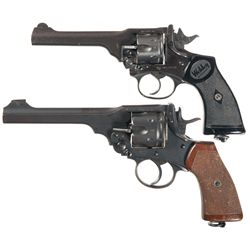 Two Webley Double Action Revolvers -A) Webley Mark IV Double Action Revolver