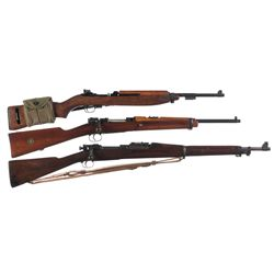 Three Military Long Guns -A) Inland M1 Semi-Automatic Carbine with Sling and Magazine Pouch