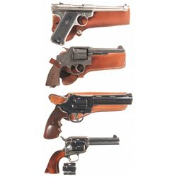 Four Hand Guns -A) Ruger MK II Semi-Automatic Pistol with Holster