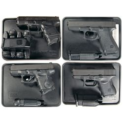 Four Glock Semi-Automatic Pistols with Cases -A) Glock Model 26 Semi-Automatic Pistol with Five Extr