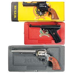 Three Ruger Handguns -A) Ruger New Model Single Six Single Action Revolver with Extra Cylinder
