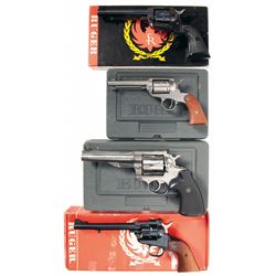 Four Ruger Revolvers -A) Ruger Single-Six Flat Gate Single Action Revolver with Box