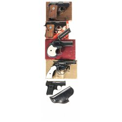 Five Handguns -A) Colt 25 Caliber Junior Pocket Semi-Automatic Pistol with Box