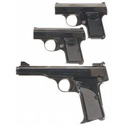 Three Belgian Browning Semi-Automatic Pistols -A) Browning Baby Semi-Automatic Pistol