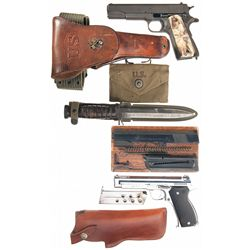 Two Semi-Automatic Pistols -A) U.S. Ithaca Model 1911A1 Semi-Automatic Pistol with Accessories