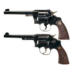Two Double Action Revolvers -A) Colt Officer's Model Target 2nd Issue Double Action Revolver
