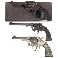 Three Colt Double Action Revolvers -A) Colt New Police Model Double Action Revolver