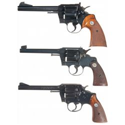 Three Colt Double Action Revolvers -A) Colt Officer's Model Match Double Action Revolver