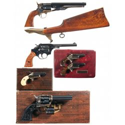 Three Revolvers and Three Derringers -A) Belgian 1960 New Model Army Percussion Revolver with Should