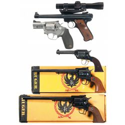 Five Hand Guns -A) Ruger Mark II Semi-Automatic Pistol with Scope