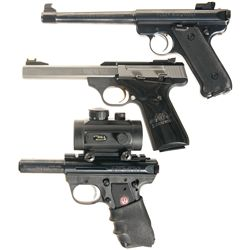 Three 22 Caliber Semi-Automatic Pistols -A) Ruger Mark II Target Semi-Automatic Pistol