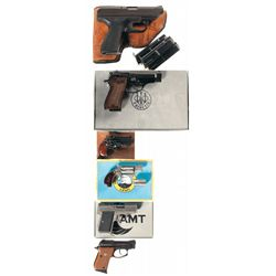 Six Handguns -A) Heckler & Koch Model VP 70Z Semi-Automatic Pistol with 3 Extra Magazines and Holste