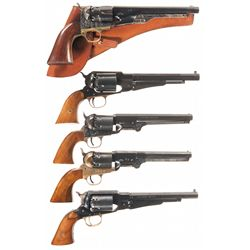 Five Reproduction Percussion Revolvers -A) Italian Reproduction of a Fluted Cylinder 1860 Army Percu
