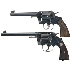 Two Colt Double Action Revolvers -A) Colt Officers Model Double Action Revolver