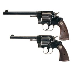 Two Colt Double Action Revolvers -A) Colt New Service Revolver Double Action Revolver