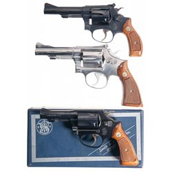 Three Smith &amp; Wesson Double Action Revolvers -A) Smith &amp; Wesson Model 34 Double Action Revolver