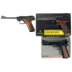 Three Browning Semi-Automatic Pistols with Cases -A) Browning Buck Mark Challenge SE Semi-Automatic